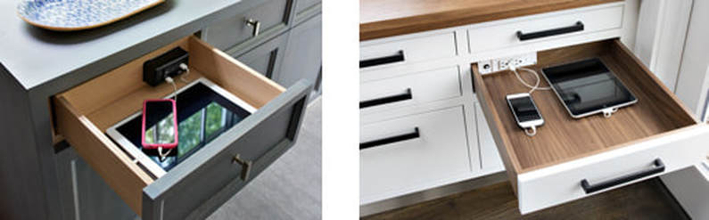 Take control and clear clutter with in-drawer power outlets